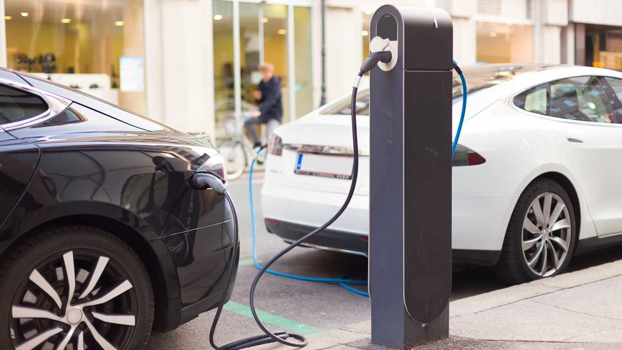 Electric cars charging on High Street