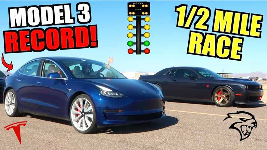Tesla Model 3 Performance Sets New 1/2-Mile Record, Crushes Hellcat
