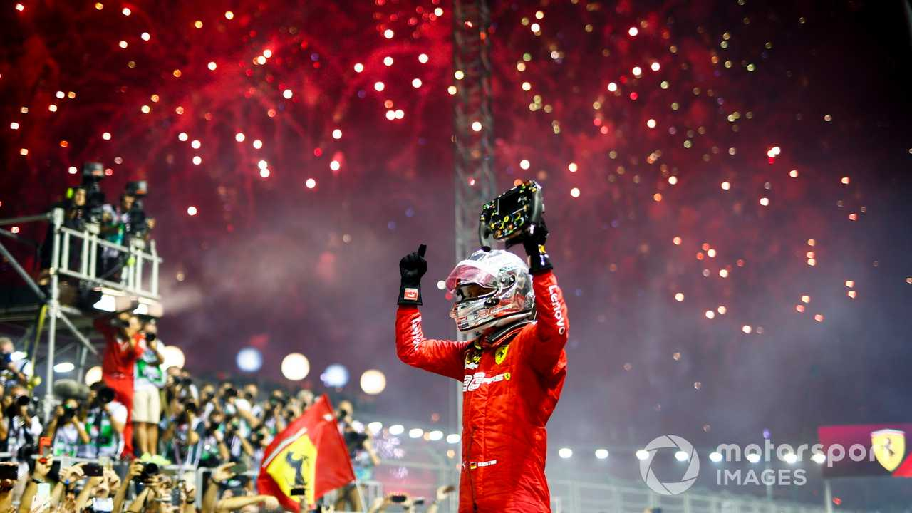 Race winner Sebastian Vettel at Singapore GP 2019