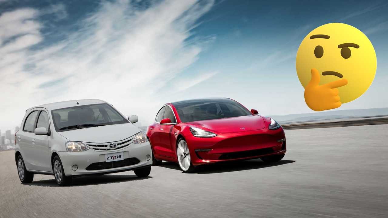 Check The Similarities Between A Tesla Model 3 And A Toyota Etios