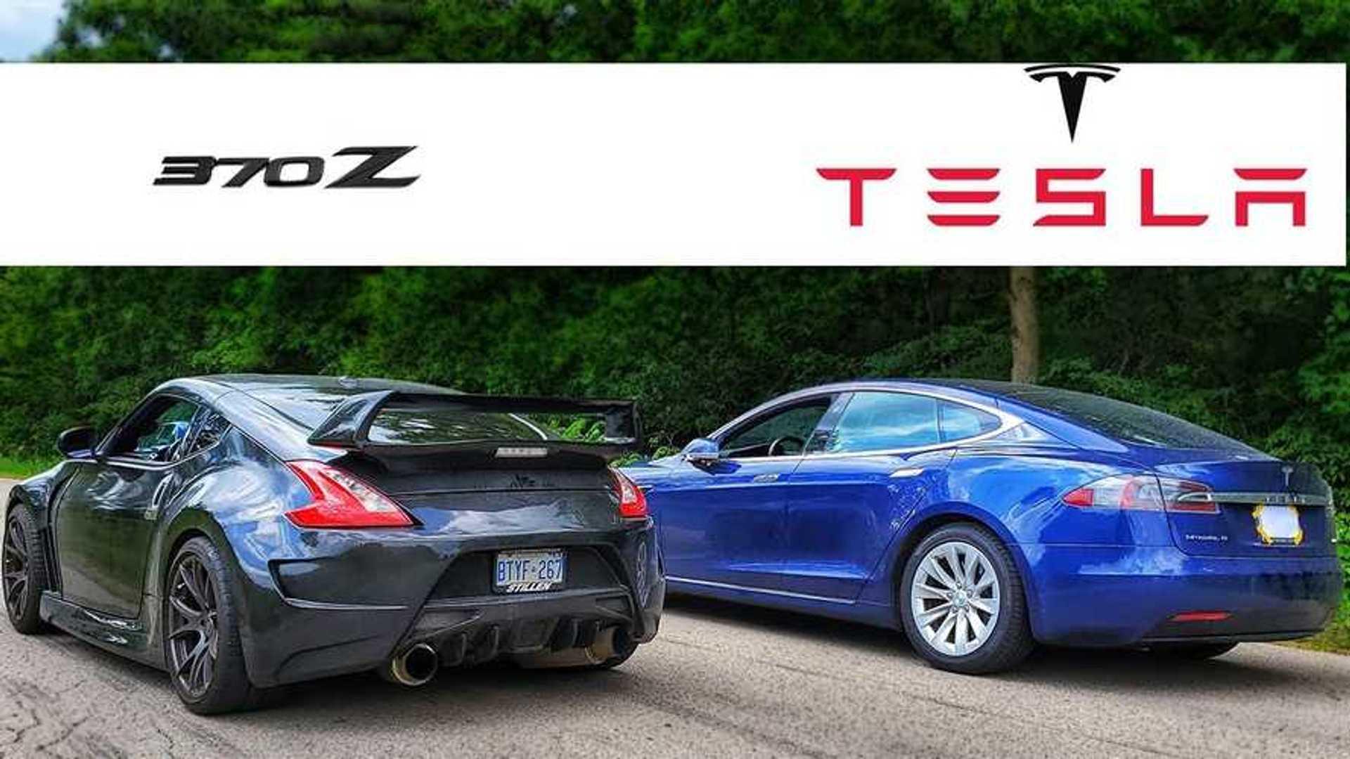 Watch Tesla Model S Take On Nissan 370Z Twin Turbo: Drag Race Video