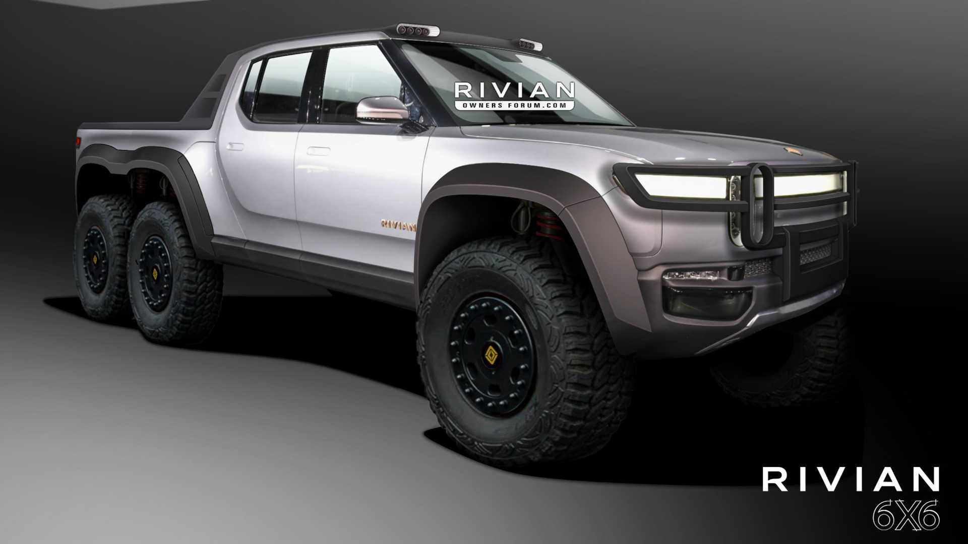 Rivian R1t Pickup Truck Rendered As 6 Wheel Drive Monster Off Roader