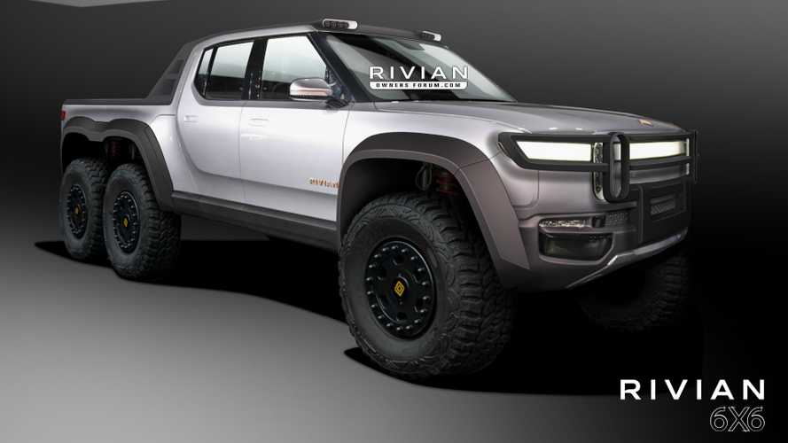 Rivian R1T Pickup Truck Rendered As 6-Wheel-Drive Monster Off-Roader