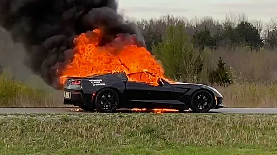 Chevy Corvette Owner Films His Car As It Goes Up In Flames