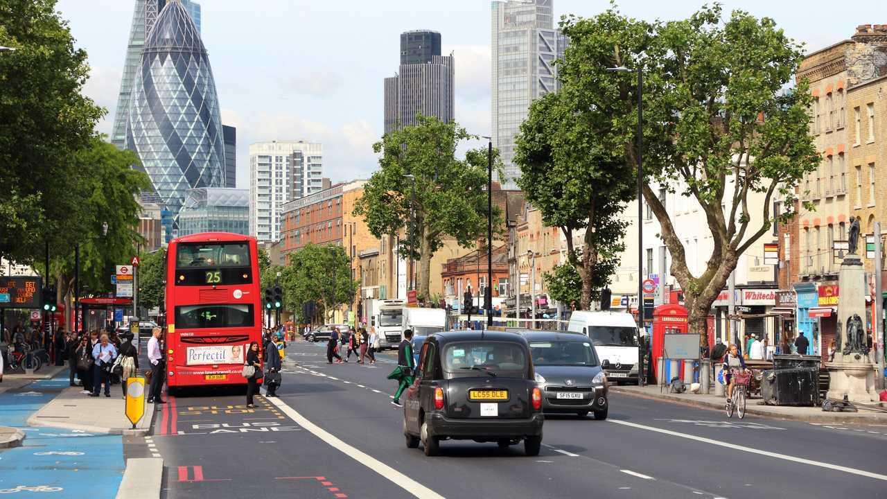 Aldgate area in Whitechapel London UK