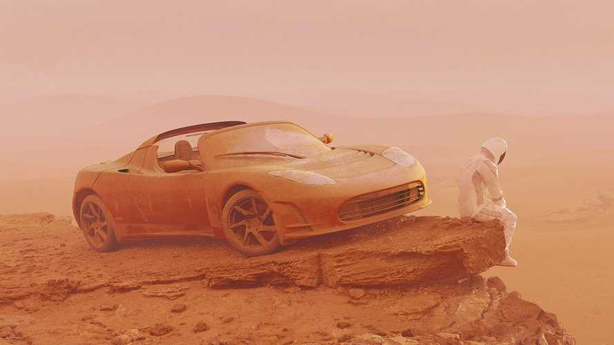 Tesla Roadster finally reaches Mars in these sombre renderings