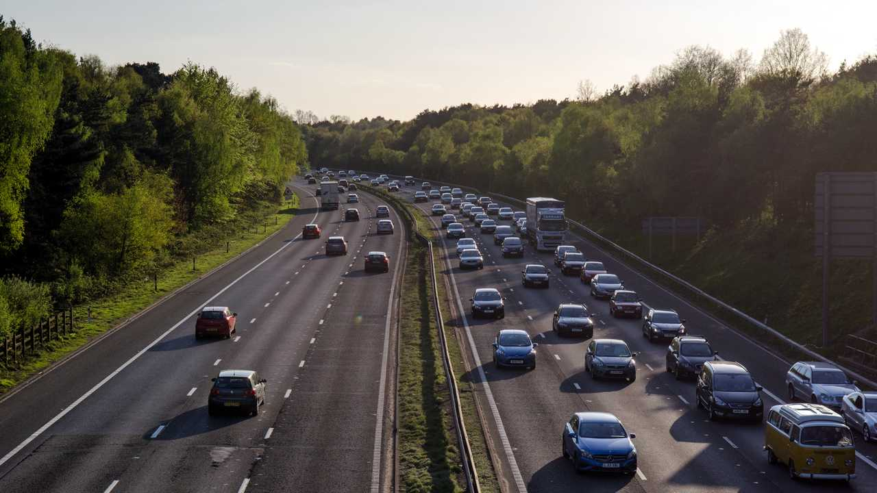 Heavy traffic on M3 motorway in Woking approaching London