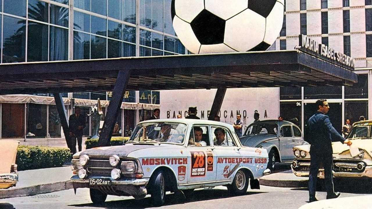 Moskvich-412 al raduno Londra-Messico