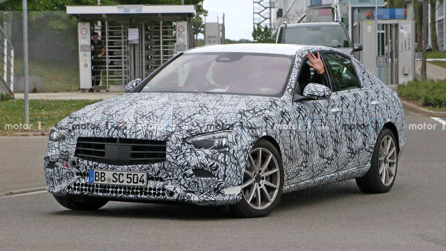 2021 Mercedes C-Class test driver salutes our spy photographer