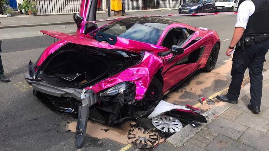 Hot Pink McLaren 570S Gets Totaled In Low-Speed Crash With VW Golf