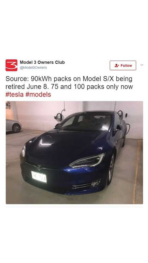 Tesla To Discontinue Model S, X 90 kWh On June 8