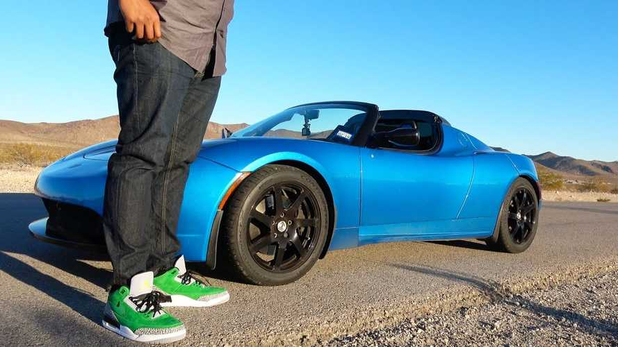 Will An NFL Offensive Tackle Fit Inside A Tesla Roadster? Video