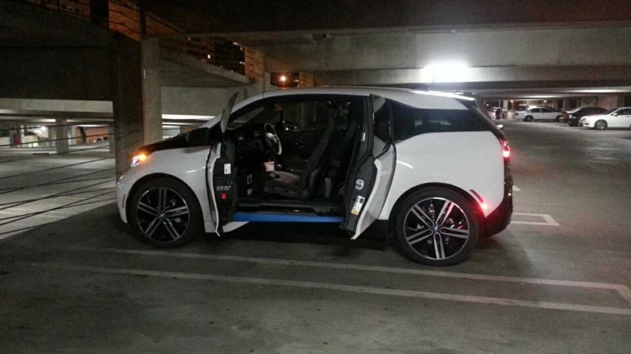 BMW i3 at the Long Beach Convention Center. Took the family to see Disney On Ice (140 miles round trip)