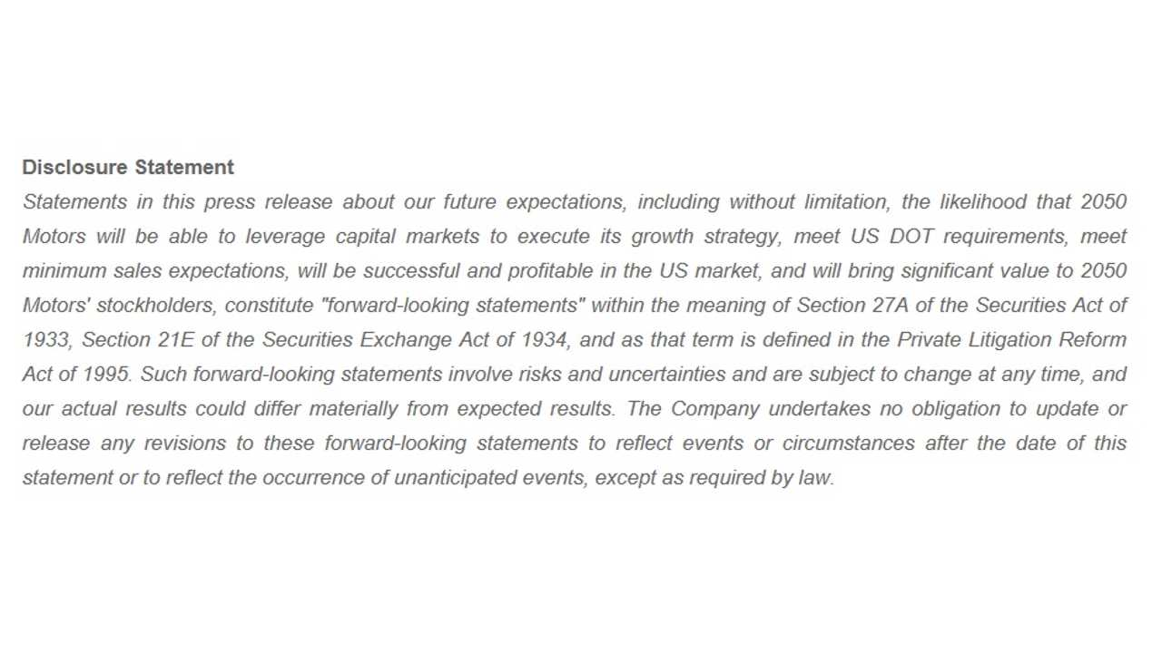 20150 Motors Disclaimer Attached To Announcement - Filling Us With Confidence