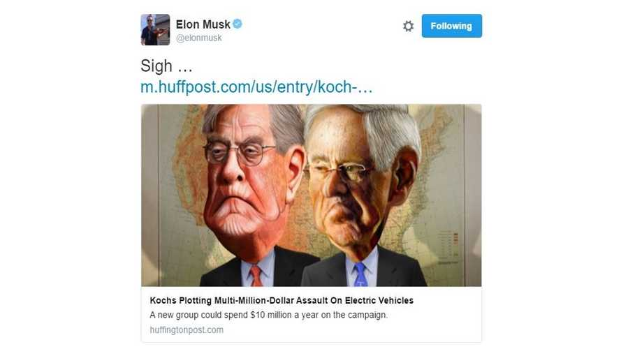 "Koch Brothers Ready Multi-Million Dollar Attack On Electric Cars - Elon Musk Tweets ""Sigh"""