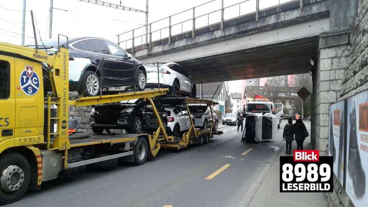 Truck Transporting Teslas Strikes Underside Of Bridge