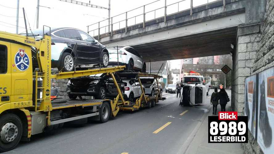Truck Transporting Teslas Strikes Underside Of Bridge