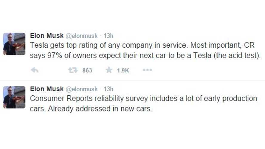"Elon Musk Tweets In Response To Consumer Reports' ""Not Recommended"" Status For Tesla Model S"