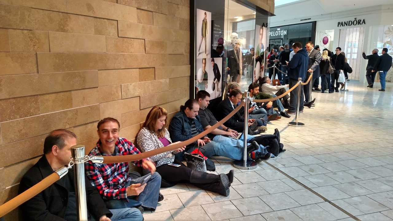 People camped out in lines many hours before the Tesla stores opened for Model 3 reservations on March 31st