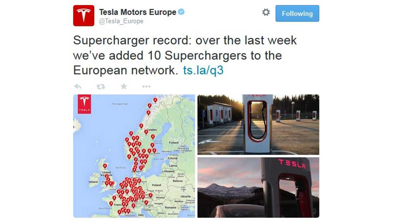 Tesla Sets Supercharger Record - Installs 10 In One Week