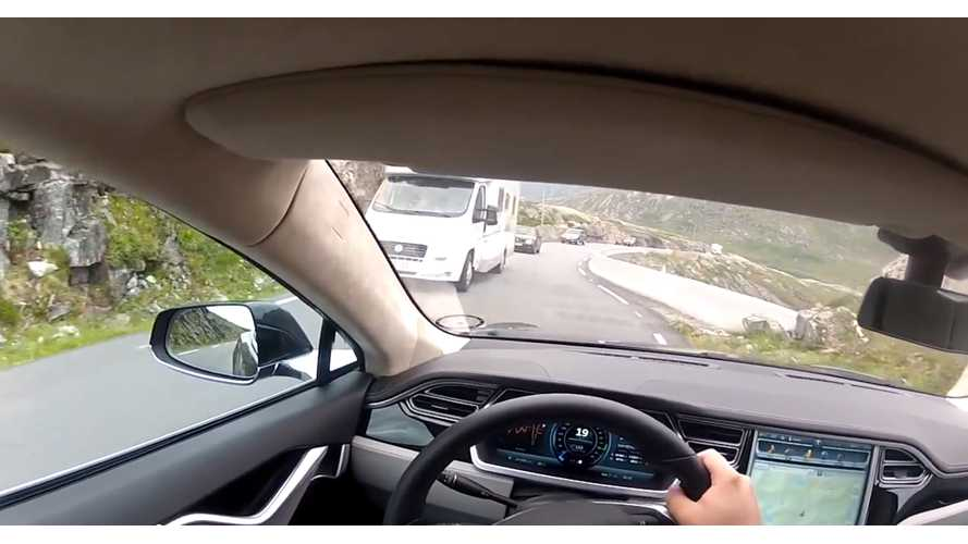 This Mountain Road Is Not Wide Enough For Tesla Model S - Video