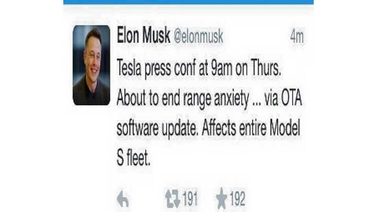 Elon Musk: End Of Range Anxiety For Entire Tesla Model S Fleet Coming Via OTA Software Update