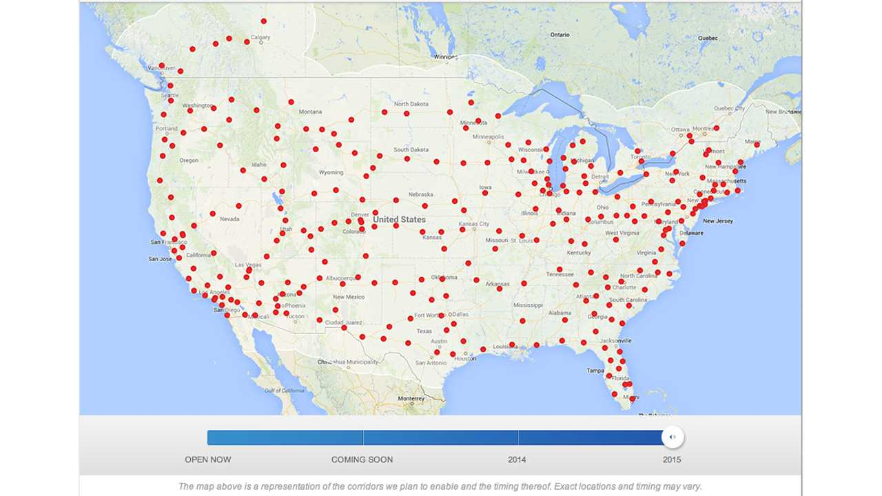 Tesla Supercharger network by the end of 2015. Impressive!