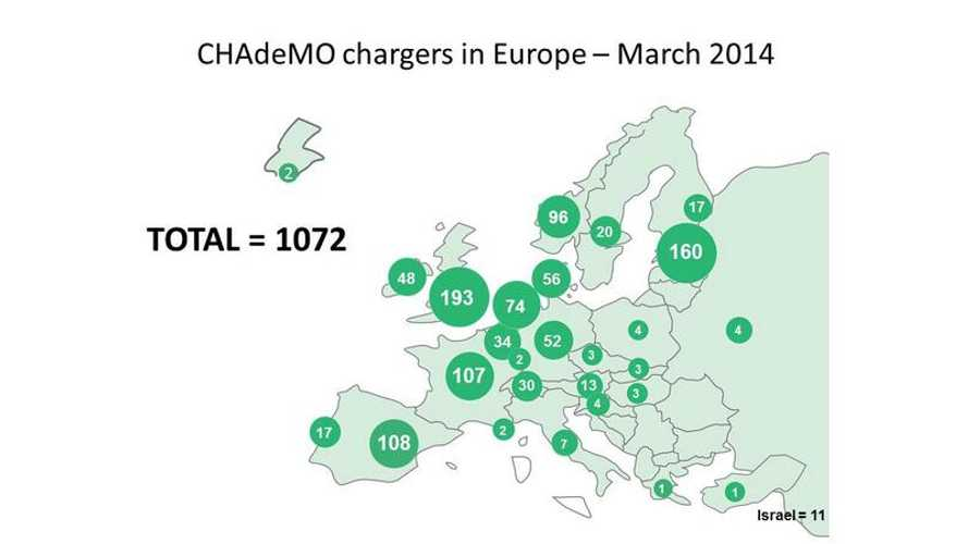 CHAdeMO Chargers In Europe - Numbers On Map Edition