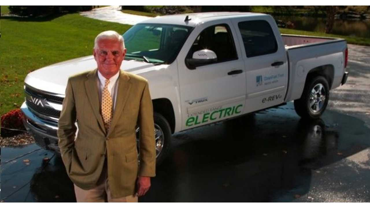 Mr. Lutz With VIA's Top Of The Line Crew Cab Truck That Features A 24.4 kWh Lithium Battery, Good For 30-40 Miles Of Electric Driving