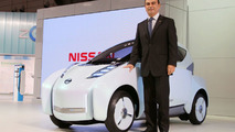 Nissan Land Glider EV concept and Nissan CEO Carlos Ghosn live in Tokyo