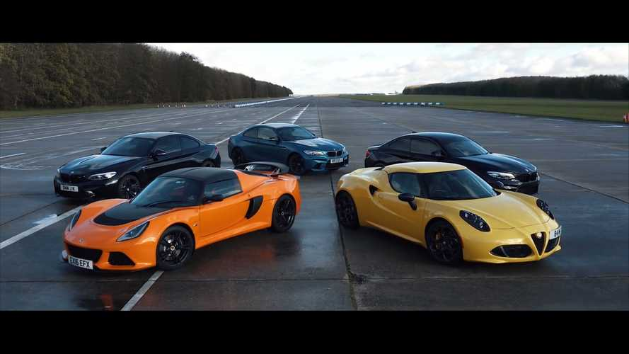 Alfa Romeo 4C drag races BMW M2 Comp and Lotus Exige