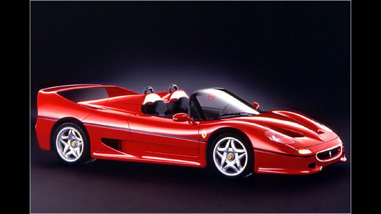349 Ferrari F50 wurden für ausgewählte Kunden gebaut. Der 1995 in Genf vorgestellte 520-PS-Wagen ist bis zu 325 km/h schnell