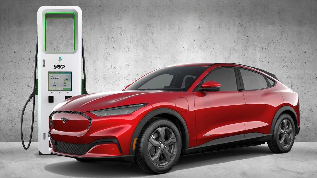 Ford Mustang Mach-E at Electrify America charging station