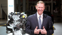 Ford CEO Alan Mulally with 1.0-liter EcoBoost engine - 11.11.2011