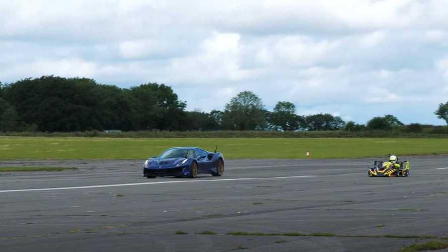 ¿Cuál gana en una carrera entre un Ferrari 488 y un Superkart?