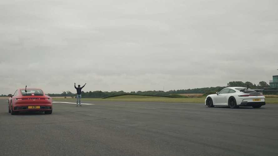 Porsche 911 drag races itself in Carrera vs GT3 battle