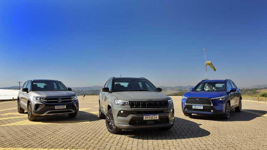 Comparativo: Jeep Compass S vs. Toyota Corolla Cross XRX Hybrid vs. VW Taos Launch Edition