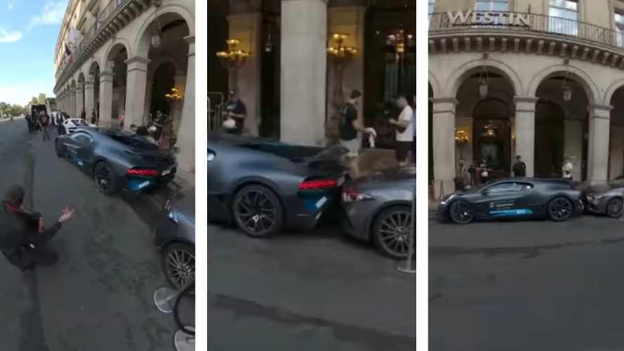 Csúnyán nekitolatott Bugatti Divo hiperautójával egy férfi egy Mercedes CLS-nek
