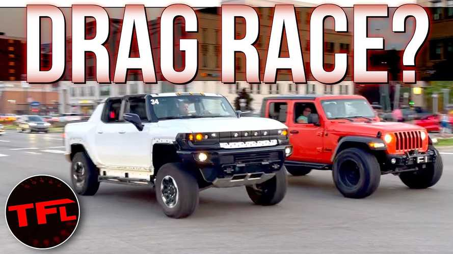 Watch Several GMC Hummer EVs Accelerate And Crab Walk In Detroit