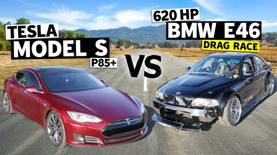 Watch Tesla Model S Race LS-Swapped BMW 3 Series E46 V8 Monster
