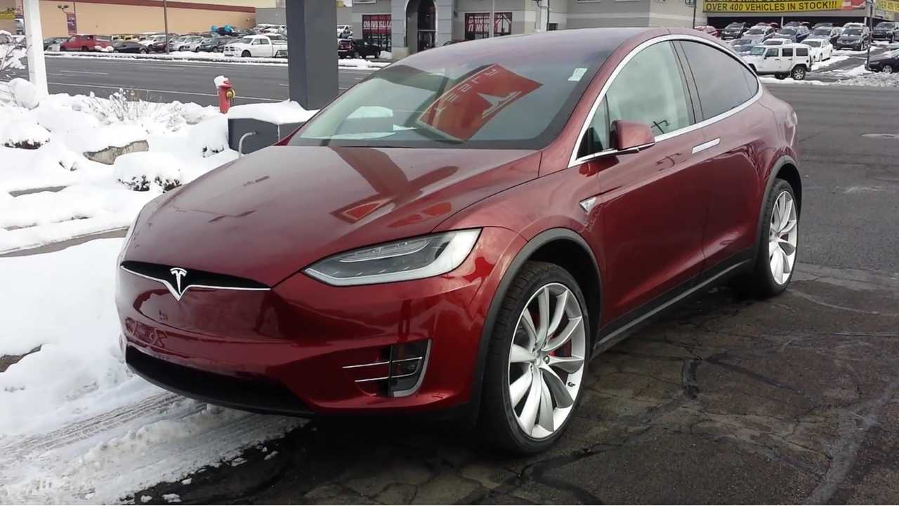Red Tesla Model X Delivery