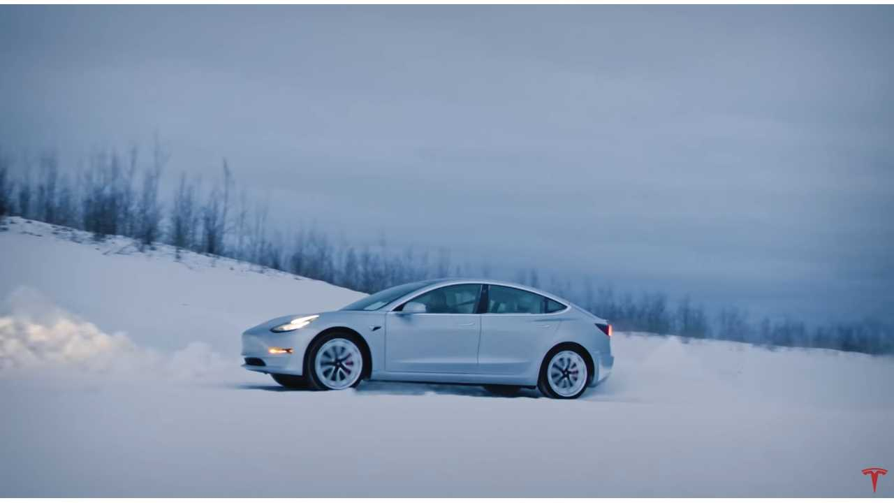 Tesla Model 3 Performance: Navigational Road Rally At Night In Snow