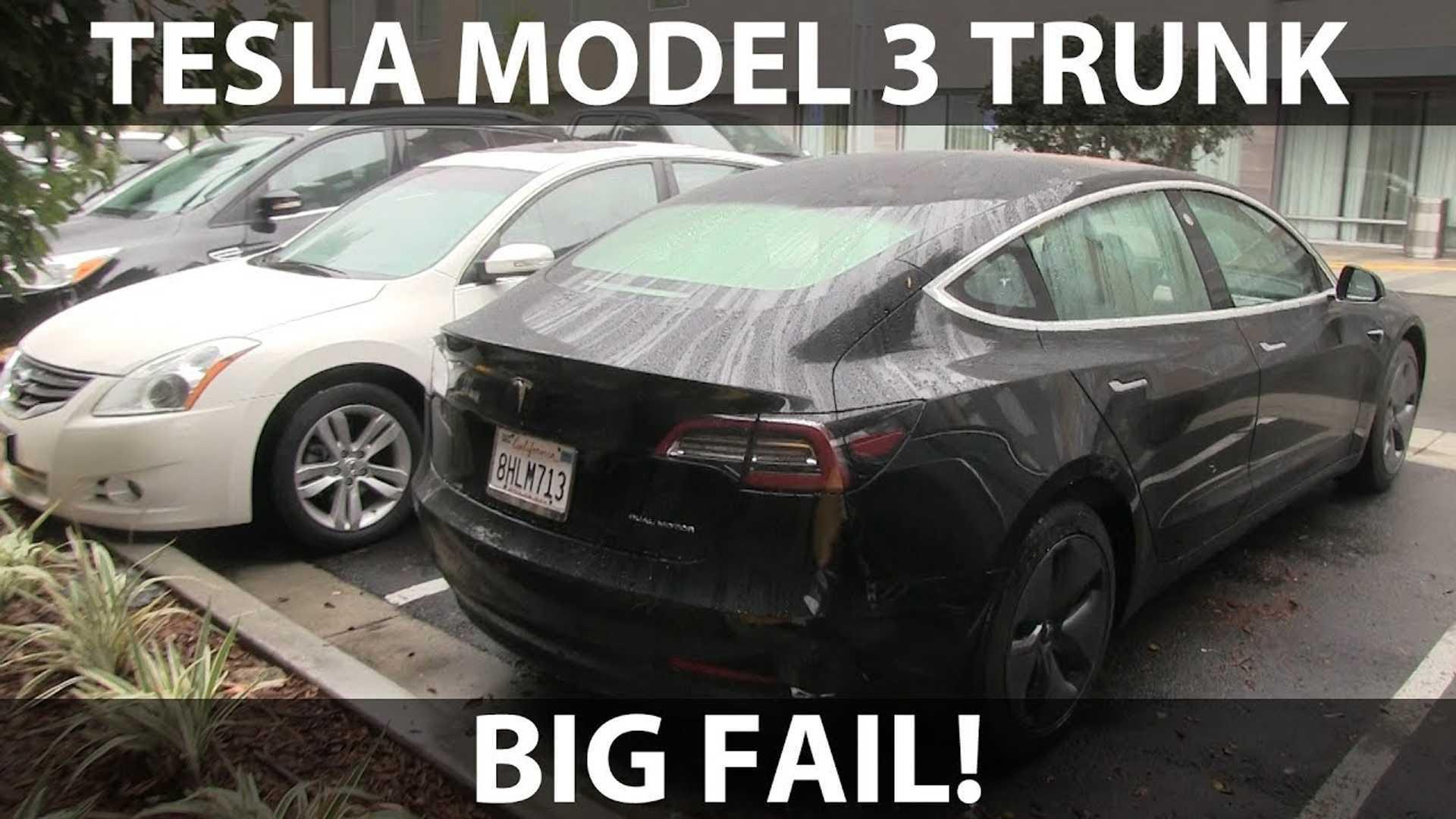 Opening Tesla Model 3 Trunk In Rain Is Not Advised Video