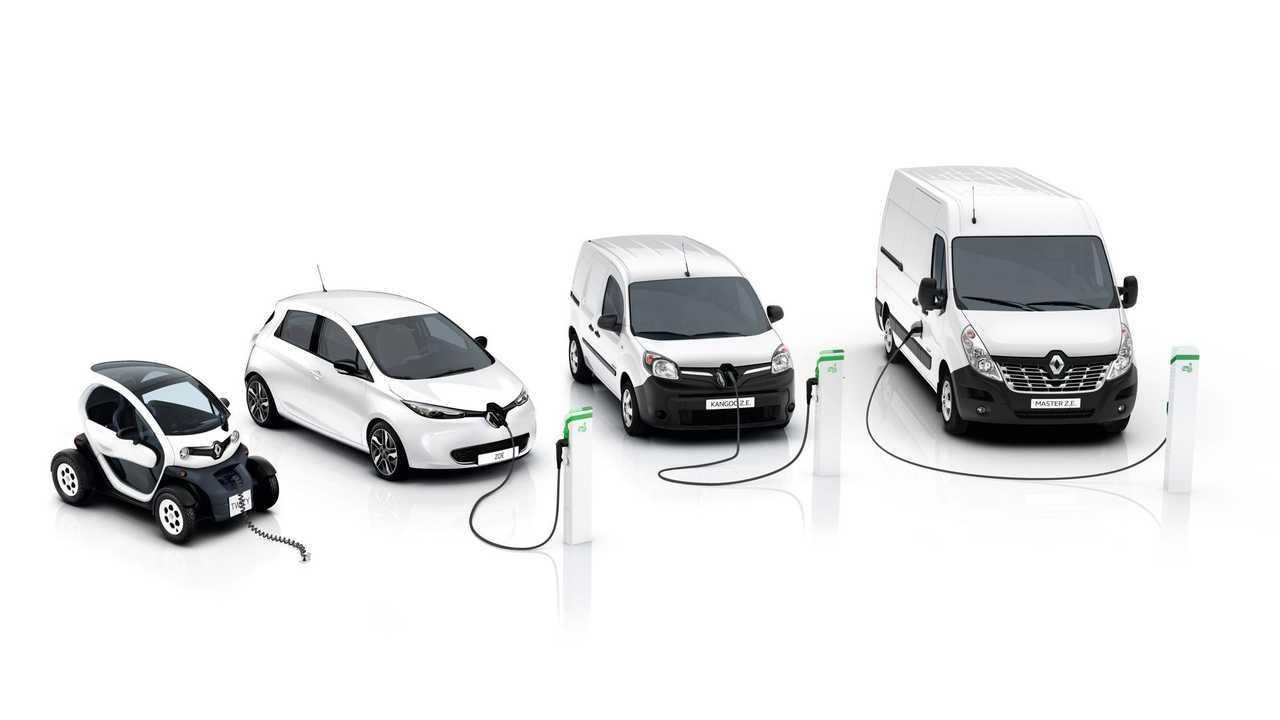 Renault lineup - from left Twizy, ZOE, Kangoo Z.E., Master Z.E.