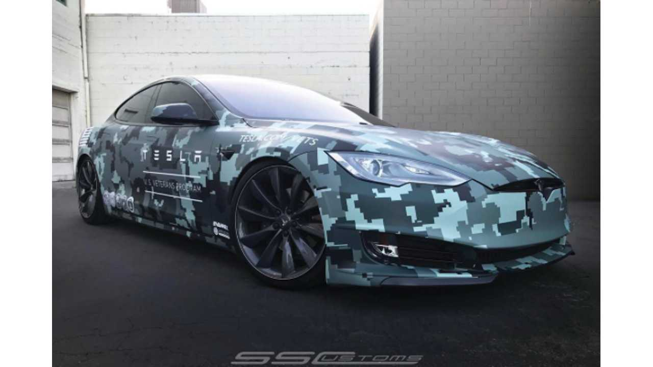 Camouflage Tesla Model S For Memorial Day