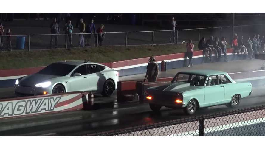Gutted Tesla Model S P100D Takes On Drag Cars - Video