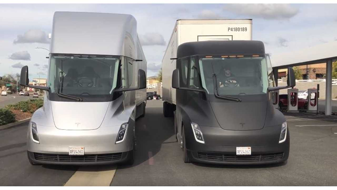 Tesla Semi trucks reportedly charging at the Rocklin Supercharger station