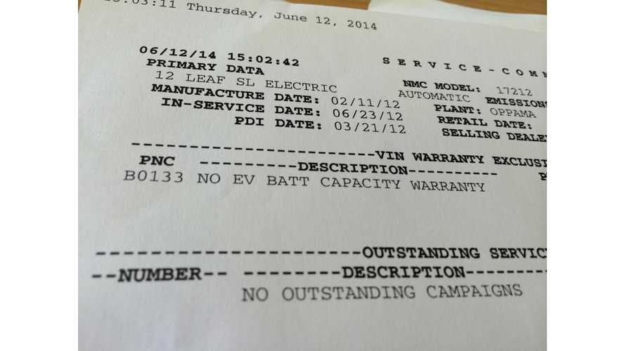 Nissan LEAF Battery Capacity Opt-Out Warranty Denial