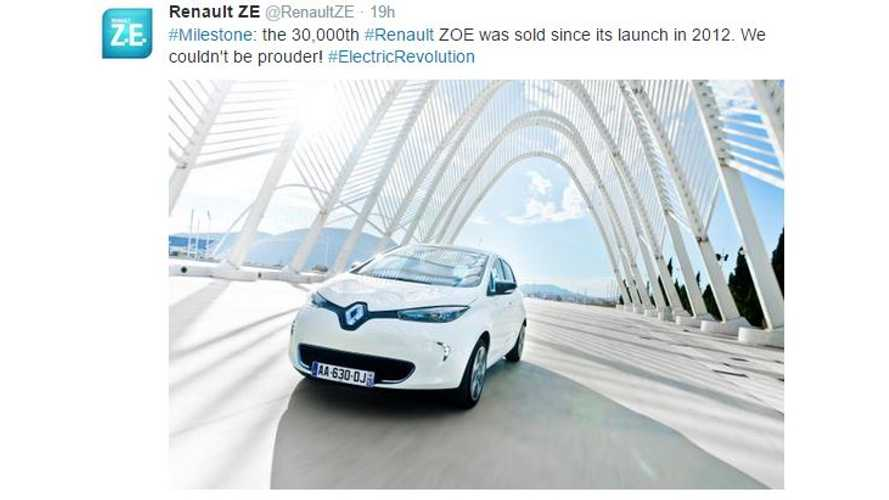 Renault ZOE Sales Top 30,000