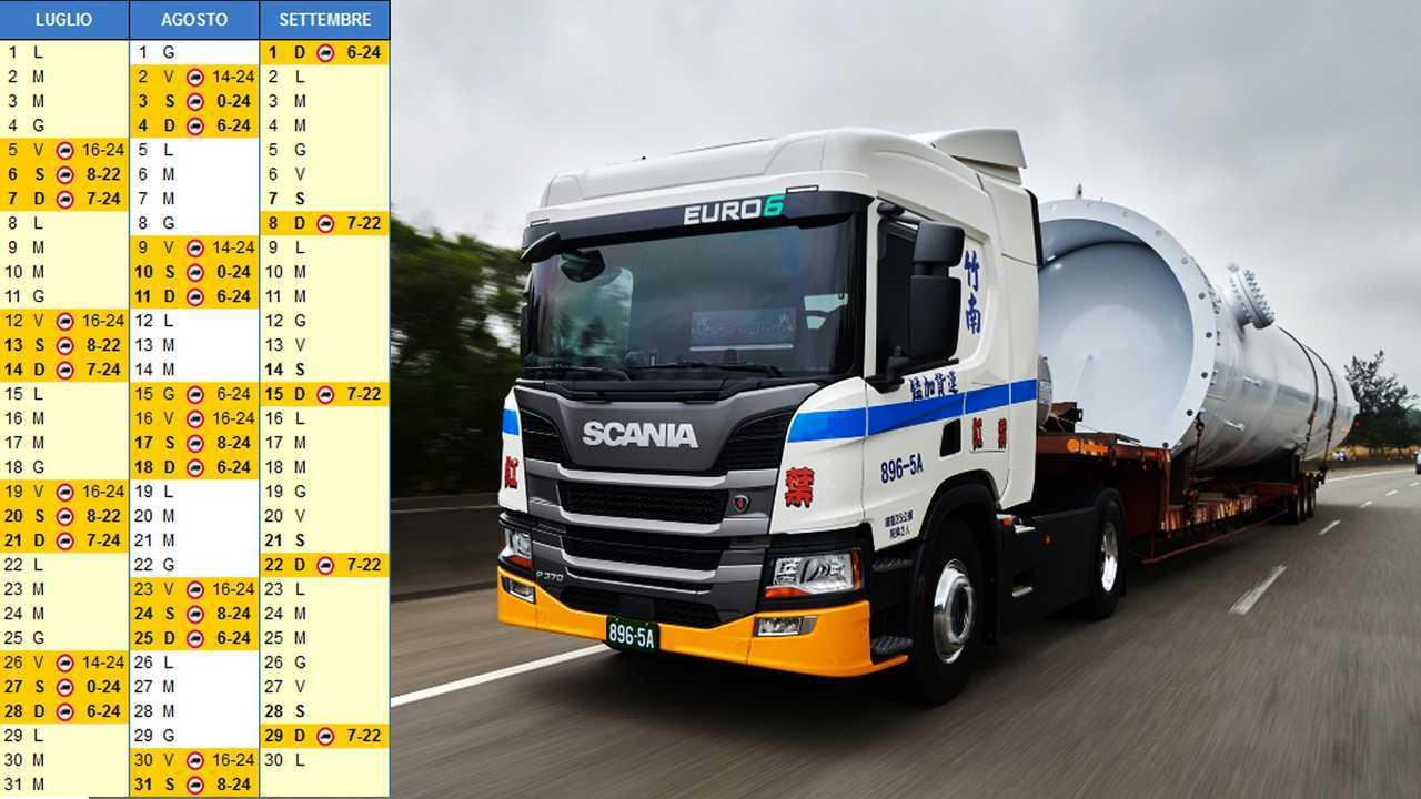 Calendario Camion 2019.Divieti Di Circolazione Camion Estate 2019